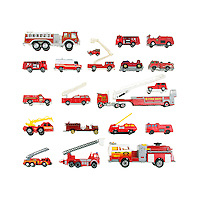 Vintage toy firetrucks arranged in a grid on a white background.