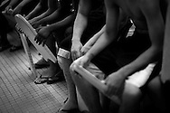 Students hold floatation boards at a swim class that Jane Katz, a professor at at the John Jay College, leads  for incarcerated youths at the school's pool in New York, July 17, 2010.