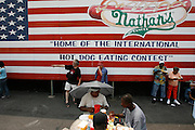 NEW YORK, NY-06 JUL04-- The courtyard behind Nathan's on Coney Island. (Extra) The Gazette/Liam Maloney
