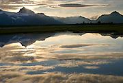 Mountains and Reflection in a small pond , Hallo Bay, Katmai National Park,<br /> <br /> Alaska