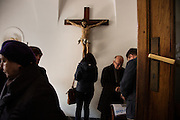 A cross in the Greco-Catholic church (precise translation of name TK) serving the Ukrainian community in Warsaw. Here the community gathers after Sunday mass.