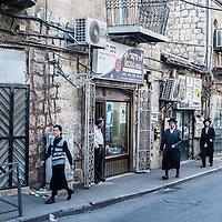 A neighborhood street in the Mea Sharim area of Jerusalem