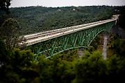 The 2010 Amgen Tour of California crosses the Foresthill Bridge over the Auburn Ravine in Auburn, Calif., May 16, 2010.