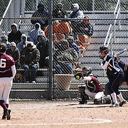 Delmar Wildcats Outfielder Carly Covington (5) seen at the plate during a varsity scheduled game between Caravel Academy and The Delmar Wildcats Saturday, April 4, 2015, at Caravel Athletic Field in Bear Delaware.