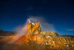 """Fly Geyser at Night 6"" - Photograph of the famous man made Fly Geyser in Nevada, shot at night"