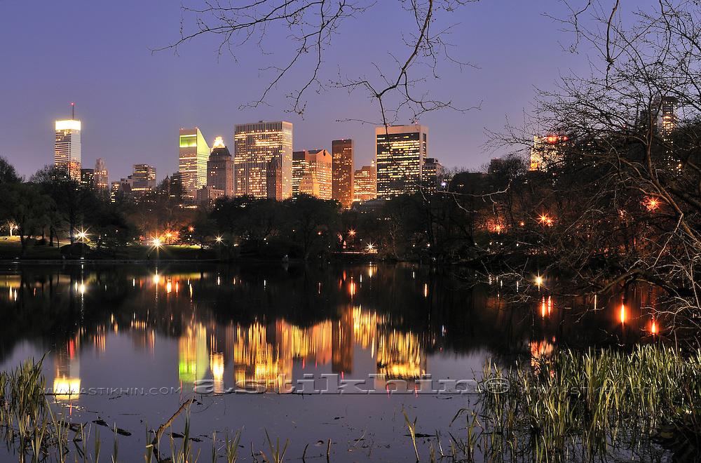 Night in Central Park, Manhattan.
