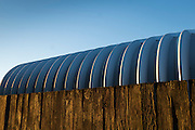 Abstract, metal building and fence