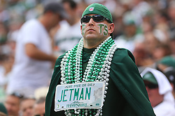 EAST RUTHERFORD, NJ - SEPTEMBER 7: A New York Jets fan during a game against the Oakland Raiders at MetLife Stadium on September 7, 2012 in East Rutherford, NJ.  (Photo by Ed Mulholland/Getty Images)
