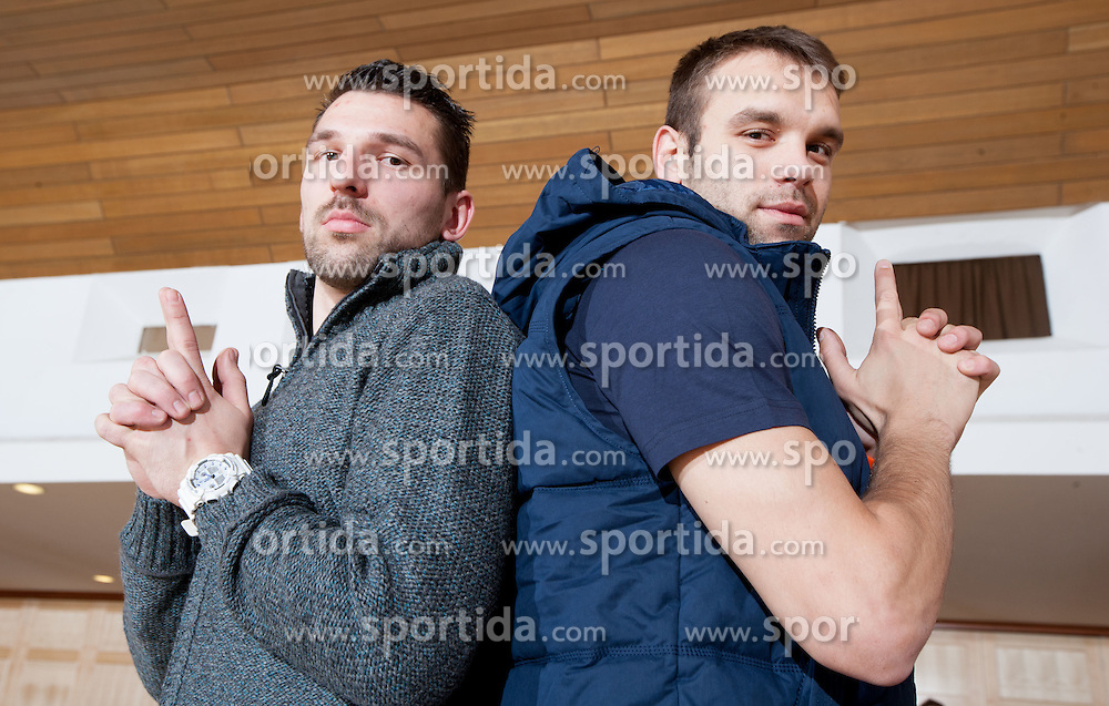 Primoz Prost and Matjaz Brumen of Slovenian Handball Men National Team when they get new clothes of Sportina Group for the EHF European Championship EURO 2012 in Serbia, on January 11, 2011, in Zrece, Slovenia. (Photo by Vid Ponikvar / Sportida)