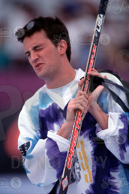 Aug 22, 1996: FRIENDS Actor Matthew Perry in action skating with hockey gear during a taping of the Hollywood Hockey Cup at the '96 NHL Breakout in the parking lot south of the Santa Monica Pier in California.  Perry grew up in Canada playing ice hockey and picked up roller hockey when he  moved to Los Angeles.