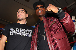 October 16, 2012; New York, NY; USA; Danny Garcia (l) and Peter Quillen pose for the media ahead of their fights Saturday night at the Barclay's Center in Brooklyn, NY.