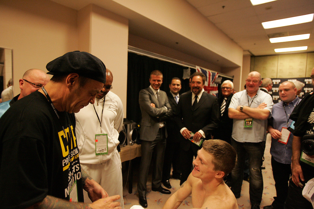 David Beckham and Tom Jones offer Ricky Hatton some moral support before the fight. Ricky Hatton v Floyd Mayweather, Las Vegas, Nevada.