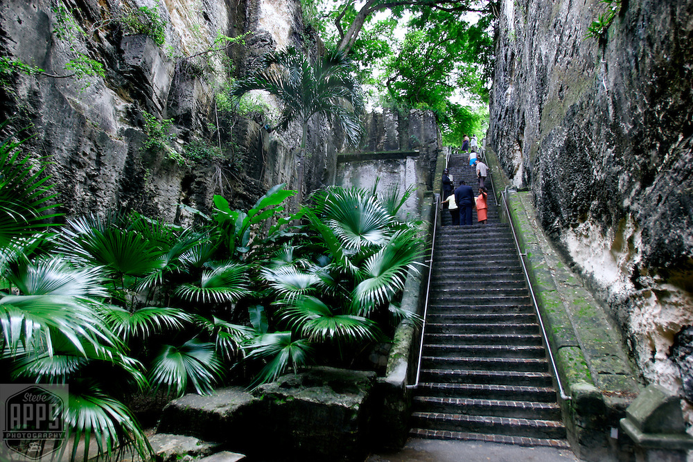 The Queens Staircase in Nassau, The Bahamas. The staircase is sixty-six steps leading to Fort Fincastle.