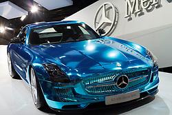 World premier of Mercedes Benz SLS AMG Electric Drive sports car at Paris Motor Show 2012