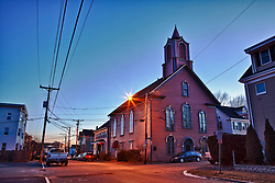 """""""The Pearl,"""" started out as the Freewill Baptist Church when it was built in 1868. It was the People's Baptist Church when Martin Luther King Jr. preached here in 1952. Portsmouth, New Hampshire."""