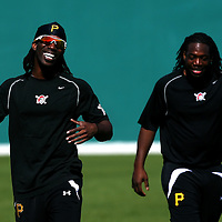 BRADENTON, FL -- January 13, 2010 -- Pittsburg Pirates outfielders Andrew McCutchen, left, and Lastings Milledge share a laugh during workouts at the Pirate City Spring Training Headquarters in Bradenton, Fla., on Wednesday, January 13, 2010.  (Chip Litherland for the Chip Litherland for the Pittsburgh Tribune-Review)