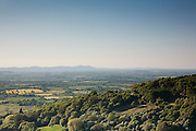 The Malvern hills seen from Witcombe wood on the Cotswold Way, England