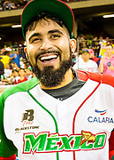 CULIACAN, MEXICO - FEBRUARY 3, 2017: Sergio Romo #54 of Mexico smiles on the field prior to the start of the Caribbean Series game between Venezuela and Mexico at Estadio de los Tomateros on February 3, 2017 in Culiacan, Rosales. (Photo by Jean Fruth)