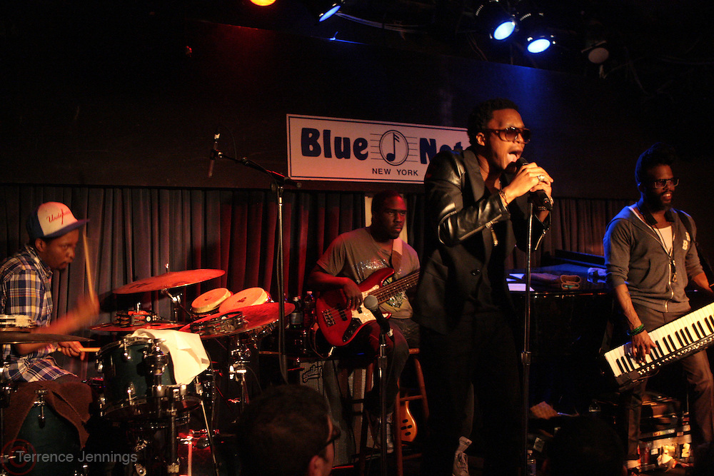26 February 2011-New York, NY- l to r: Chris Dave, Derrick Hodge, Lupe Fiasco and K.C.Benjamin perform at The Robert Glasper Experiment Produced in Association with Jill Newman Productions and held at The Blue Note on February 26, 2011 in New York City. Photo Credit: Terrence Jennings