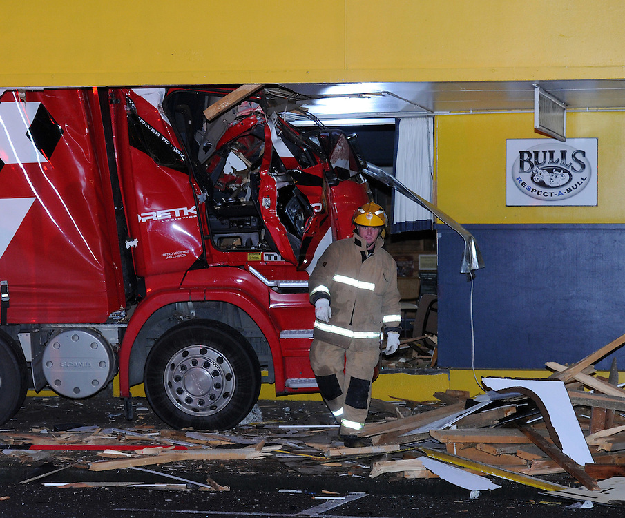 The driver died after his truck and trailer unit crashed into the RSA on SH1 at Bulls, New Zealand, Tuesday, July 17, 2012. Credit:SNPA / Ross Setford