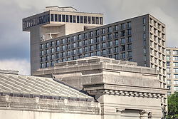 Westin Crown Center Hotel in Kansas City, Missouri. Part of Union Station in foreground.