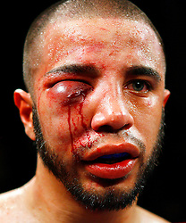 March 5, 2008; New York, NY; Gary Stark Jr (blue/silver) wins a controversial unanimous decision over Andres Ledemsa (red) at the Grand Ballroom at the Manhattan Center in New York City.