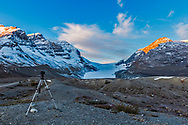 Shooting a sunrise time-lapse sequence at the Columbia Icefields. Taken handheld with the 60Da.