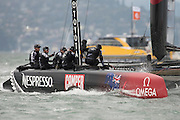Emirates Team New Zealand finishing the second fleet race of the  America's Cup World Series, San Francisco. 23/8/2012