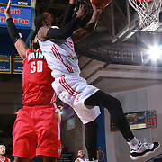 Delaware 87ers Guard RUSS SMITH (5) drives towards the basket as Maine Red Claws Center RALPH SAMPSON III (50) defends in the second half of a NBA D-league regular season basketball game between the Delaware 87ers and the Maine Red Claws  Friday, Feb. 05, 2016 at The Bob Carpenter Sports Convocation Center in Newark, DEL.
