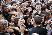 Illinois Senator and Democratic presidential hopeful Barack Obama shakes hands with supporters at a campaign rally where he received an endorsement from Democratic Senator Edward Kennedy at American University in Washington, DC, USA on 28 January 2008. The endorsement by Mr. Kennedy, a major figure in the Democratic party for more than 40 years, is seen as a blow to the campaign of his rival Democratic Senator Hillary Clinton.