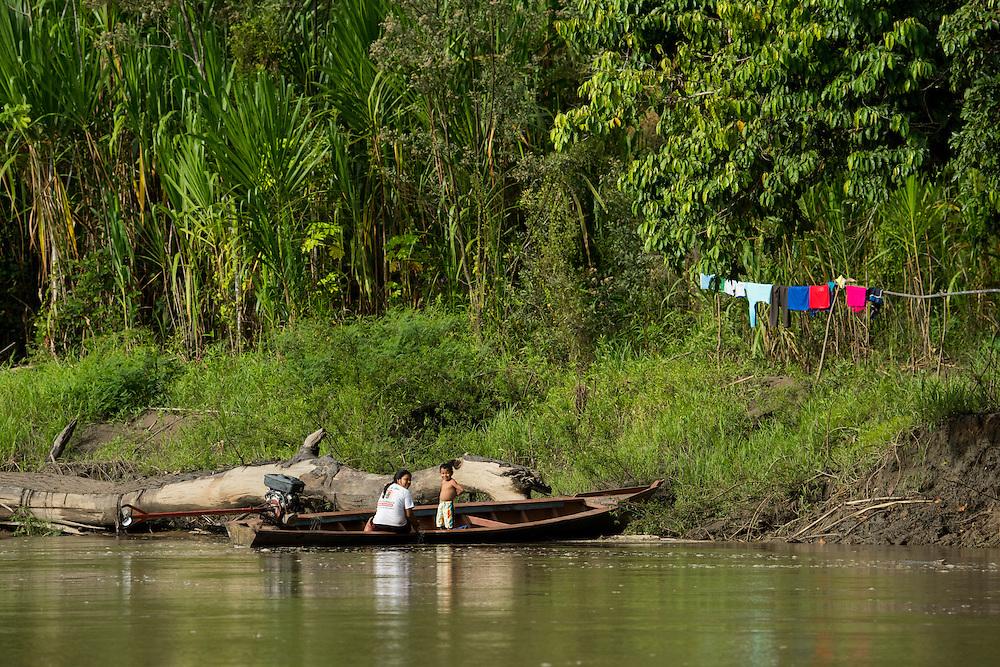 South America, Peru, Amazonia,South Manu National Park , people along madre de dios river