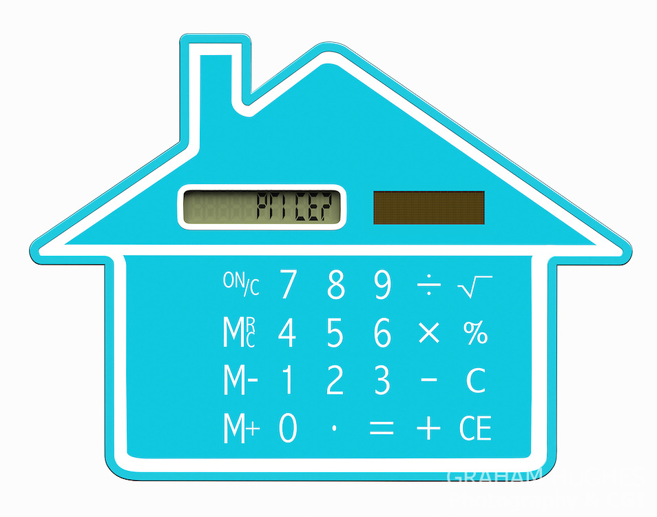 """Blue calculator shaped like a house with """"PrICE?"""" text on LCD screen."""