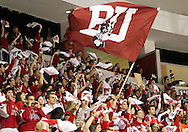 December 03, 2010 - Boston, MA - Boston University hockey fans cheer on the BU Terriers at game one of a two game series against the Boston College Eagles. (Matt Wright)