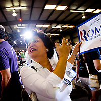 ORLANDO, FL -- January 25, 2012 -- Supporter Holey Bendoski of Sanford beams after getting a signature from Republican presidential candidate Gov. Mitt Romney after delivering a rebuttal to President Obama's State of the Union during a campaign stop at American Douglas Metals in Orlando, Fla., on Wednesday, January 25, 2012.  (Chip Litherland for The New York Times)