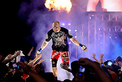 Feb 12, 2011; East Rutherford, NJ; USA; Sergei Kharitonov makes his way to the cage for his fight against Andrei Arlovski at the Strikeforce Heavyweight Grand Prix at the IZOD Center in East Rutherford, NJ.  Kharitonov won via 1st round KO.