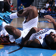 Delaware 87ers Guard DJ Seeley (18) seen laying on his back in pain in the first half of a NBA D-league regular season basketball game between the Delaware 87ers and the Erie BayHawk (Orlando Magic) Friday, Mar. 20, 2015 at The Bob Carpenter Sports Convocation Center in Newark, DEL.
