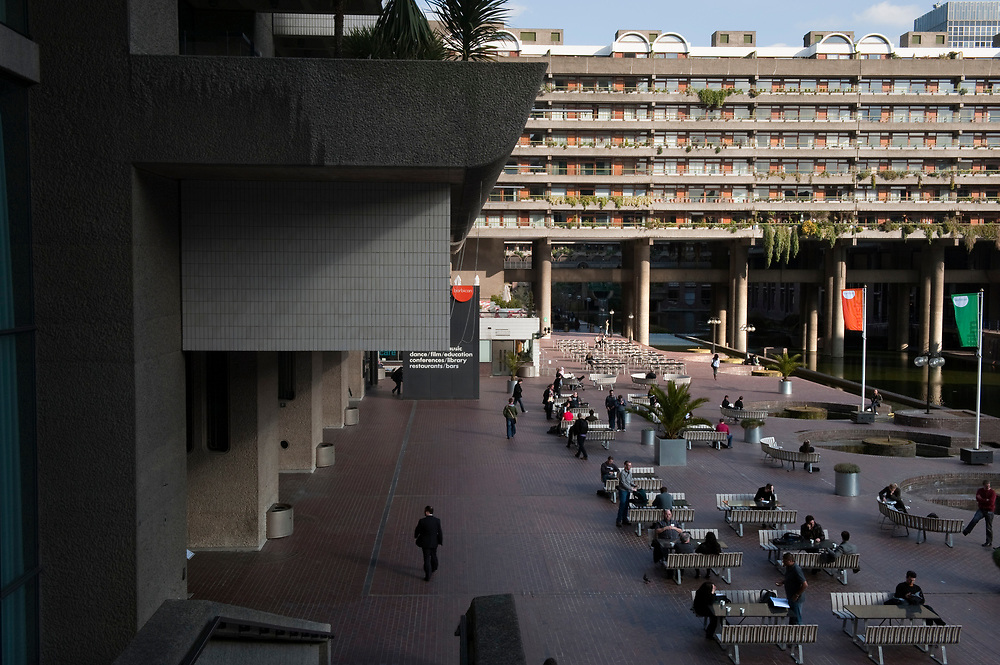 UK. London. The Barbican Centre, a collection of residential apartments, galleries, concert halls and cinemas. The Barbican Gallery is holding a Le Corbusier exhibition.<br /> Photo shows the exterior of the centre.<br /> Photos &copy;Steve Forrest