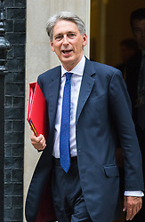 Downing Street, London, September 8th 2015.  Foreign Secretary Philip Hammond leaves 10 Downing Street following the first cabinet meeting after the summer holidays, prior to a debate in the House of Commons on the refugee crisis.