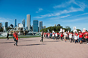 The Chicago Teachers Union and allies rally at Buckingham Fountain on September 11, 2012.