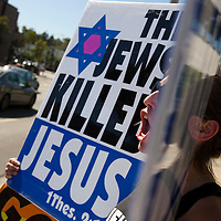Members of the Westboro Baptist Church demonstrate in Los Angeles. Picketing Yeshiva University High School for boys, a jewish school. (NOTE: Although she would not provide her name, the woman is believed to be Libby Phelps)