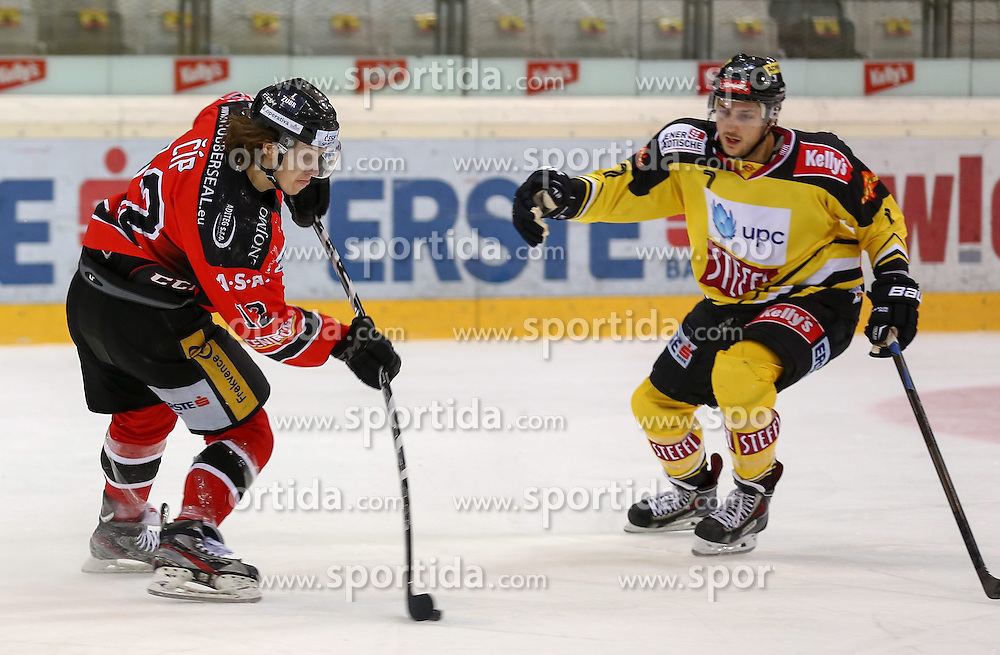 17.02.2015, Albert Schultz Eishalle, Wien, AUT, EBEL, UPC Vienna Capitals vs HC Orli Znojmo, Zwischenrunde, im Bild Radek Cip (HC Orli Znojmo) und Brett Carson (UPC Vienna Capitals) // during the Erste Bank Icehockey League intermediate heats match between UPC Vienna Capitals and HC Orli Znojmo at the Albert Schultz Ice Arena in Vienna, Austria on 2015/02/17. EXPA Pictures © 2015, PhotoCredit: EXPA/ Alexander Forst