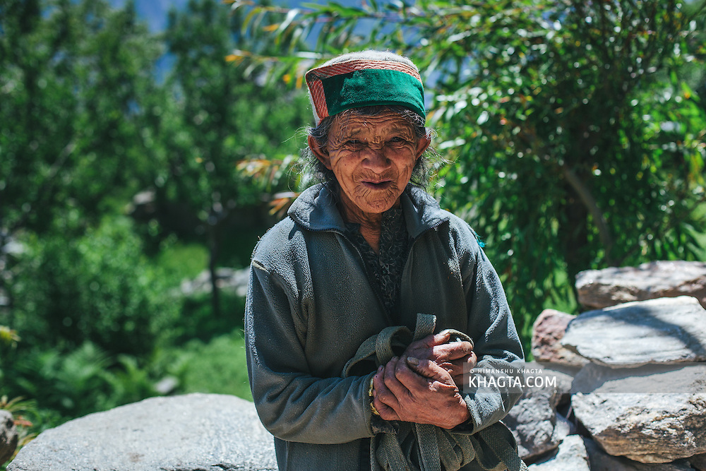 Portrait of an old Kinnauri Lady at chinni village of Kalpa