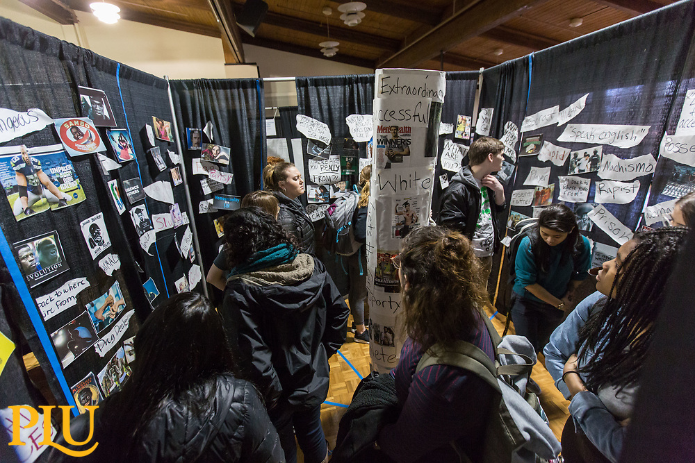 Tunnel of Oppression, an interactive display created to bring knowledge of marginalized people, at PLU, Friday, March 10, 2017. (Photo: John Froschauer/PLU)