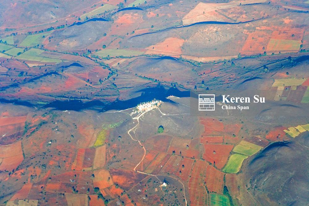 Aerial view of farmlands in Kengtung, Myanmar