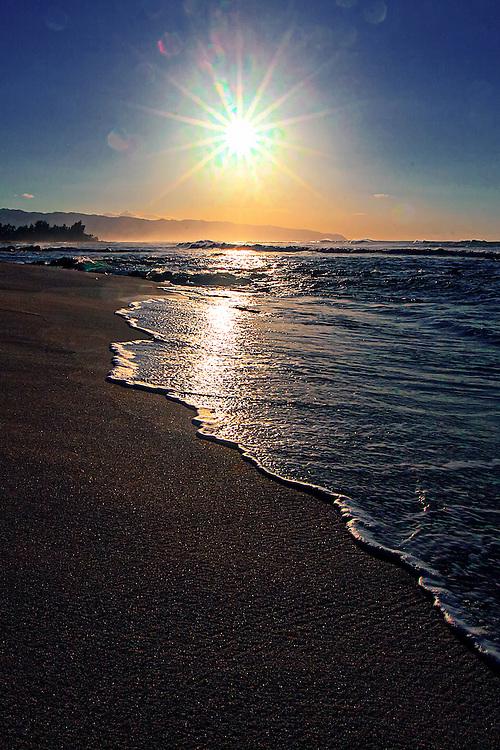 Beach near Alligator Rock on the north shore of Aohu, Hawaii