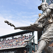 Hank Greenberg statue at Comerica Park stands approx. 13 ft tall and is cast in stainless steel. It sits on a granite base and stands with 5 other Detroit Tiger Hall of Fame statues.