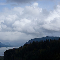 The rivers and hills of Crown Point in the Columbia River Gorge of Oregon in Spring