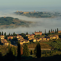 Pienza in the distance,Tuscany, Italy, Europe
