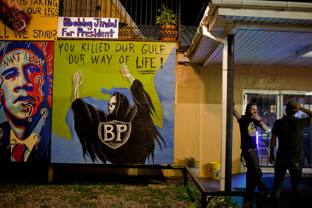 33-year-old tattoo artist Bobby Pitre created artwork outside of the Southern Sting tattoo parlor in Larose, LA to protest the oil spill. The Deepwater Horizon and the British Petroleum oil spill has been claimed as the most damaging environmental disaster in history.
