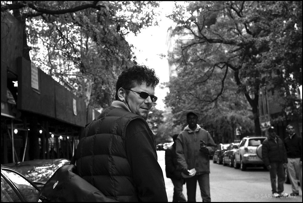 "Sam Seig on the set of ""Ghost Town"" (Dir: David Koepp, 2008)"